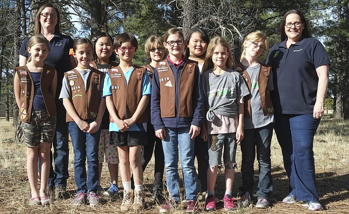 From left: Williams Girl Scout Troop 2616 troop leader Elizabeth Mason with Girl Scout Brownies Samara, Estreya, Serra, Jenna, Bella, Norah, Anna, Kammy, Madilyn and Scout leader Karin Little. (Loretta Yerian,WGCN)