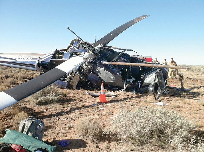 A faulty trasmission led to a helicopter crash west of Valle Nov. 15, 2011. (Photo/CCSO)