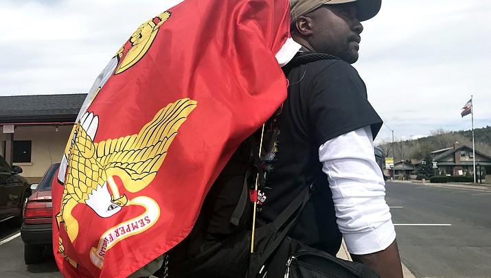 Retired Marine walks across U.S. raising awareness for wounded combat veterans