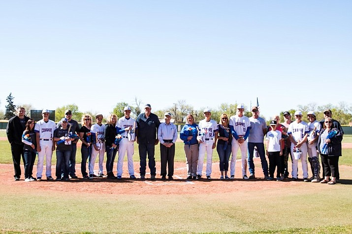 Chino Valley High School baseball honored their seven senior athletes and their families at their final regular season home game Tuesday, April 17, 2018 at Nesbitt-Pratt Field. (Marthjane Denike/courtesy)
