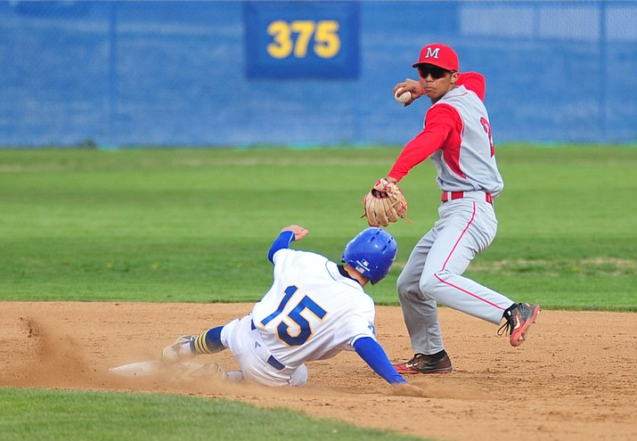 Mingus' Tyree Kim turns the double play as the Marauders face the Prescott Badgers Monday, April 16, 2018 in Prescott. (Les Stukenberg/Courier)
