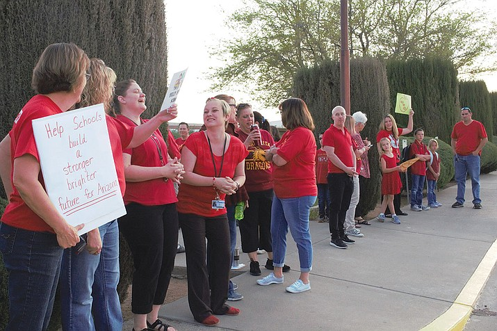 Teachers protesting outside of Manzanita Elementary spreading awareness to the community about low education funding in the state of Arizona.
