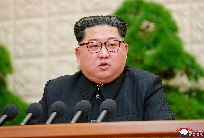 In this Friday, April 20, 2018, photo North Korean leader Kim Jong Un speaks during a meeting of the Central Committee of the Workers' Party of Korea, in Pyongyang, North Korea. North Korea said Saturday, April 21, 2017 it has suspended nuclear and long-range missile tests and plans to close its nuclear test site ahead of a new round of negotiations with South Korea and the United States. There was no clear indication in the North's announcement if it would be willing to deal away its arsenal. (Korean Central News Agency/Korea News Service via AP, File)