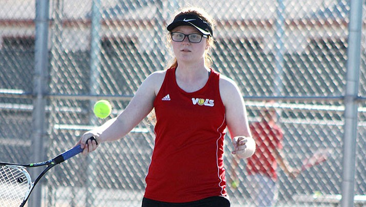 Lee Williams' Arden Schickner, above, and Gaby Villar won two doubles matches Friday to advance to the third round of the state tournament
