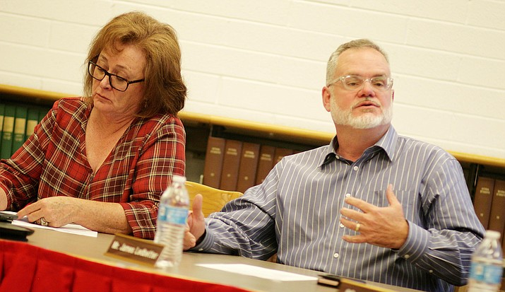 Mingus Union School Board Member Jim Ledbetter, pictured with Board President Anita Glazar, made a motion that the school should close on Thursday, April 26 due to the expected walkout of the state's teachers. (Photo by Bill Helm)