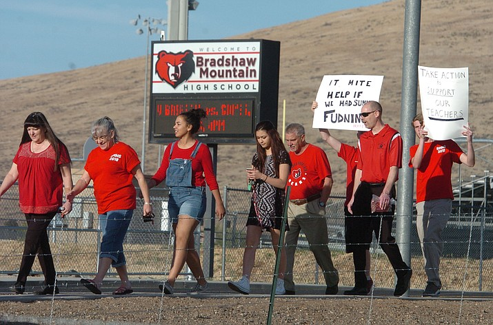 Over 100 teachers, parents, support staff, students and supporters march at Bradshaw Mountain High School on April 11, 2018. Humboldt Unified School District will close 10 schools Thursday and Friday, April 26 and 27, due to the statewide teacher walkout. (Les Stukenberg/Courier, File)
