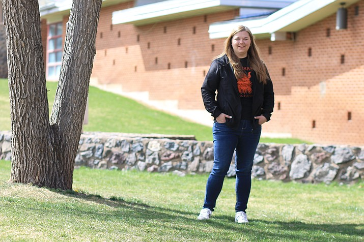 First-year teacher Catherine Kowalski stands in front of Williams High School. Kowalski was named Coconino County Rookie Teacher of the Year April 18. (Wendy Howell/WGCN)