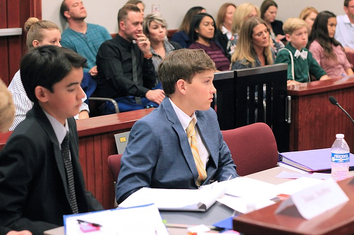 Homeschool students hold a mock court April 19.