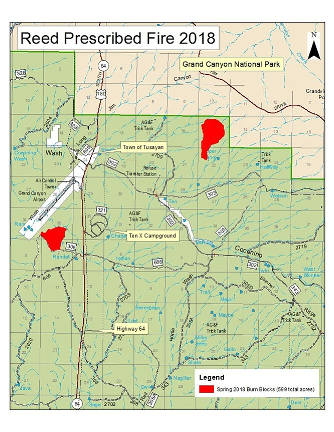 Fire managers will focus on the 250-acre block southwest of Tusayan and south of Grand Canyon Airport beginning April 25. (Kaibab National Forest)