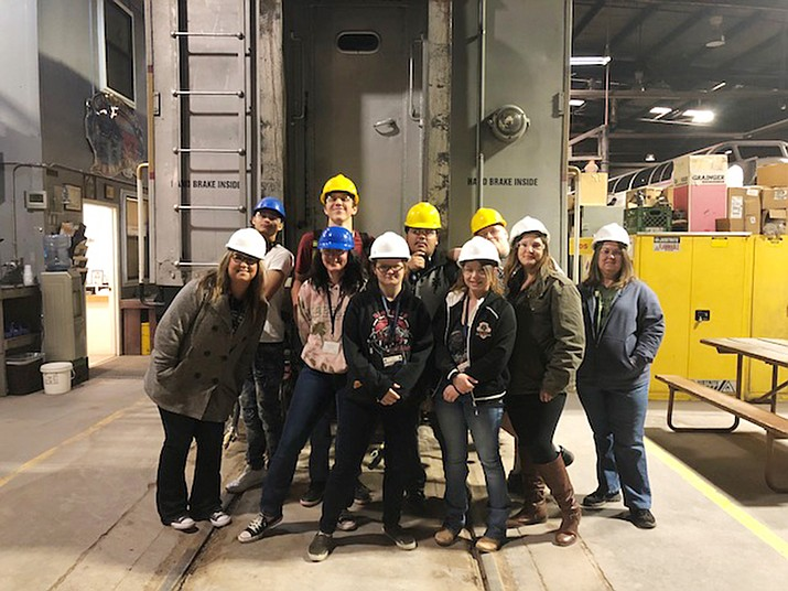 Students tour the Locomotive Shop at Grand Canyon Railway April 17 during a Career Day event hosted by the Railway and in coordination with Coconino Community College. (Grand Canyon Railway)
