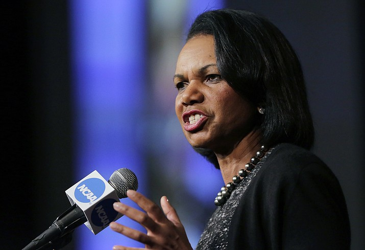 In this Jan. 14, 2016, file photo, former Secretary of State Condoleeza Rice speaks during a luncheon at the NCAA Convention in San Antonio. (Eric Gay/AP, File)