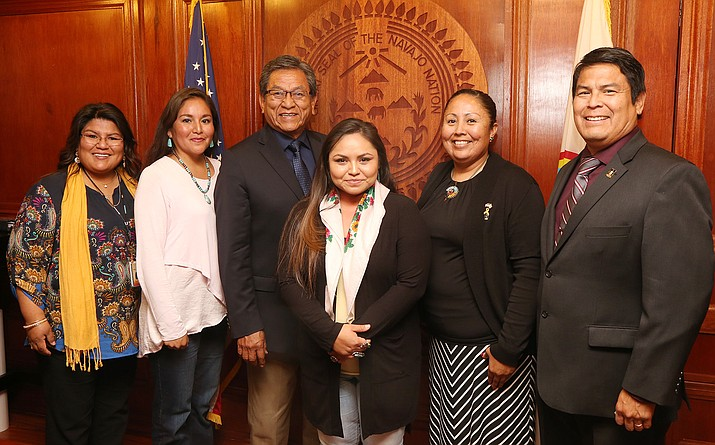 From left: Karessa Kee, Candice Pioche-Zunie, President Russell Begaye, Kim Silentwalker, Katrina Yazzie, Lt. Col. Tracey Clyde. (Navajo Nation Office of the President and Vice President)
