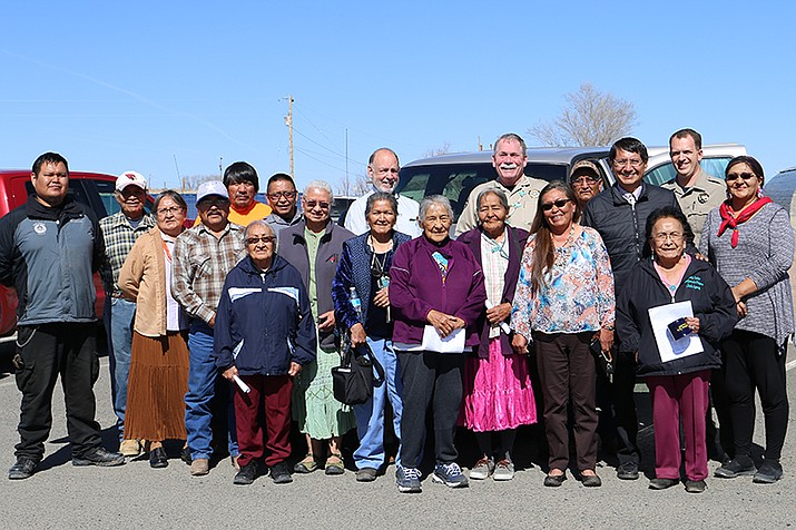 Navajo Nation Vice President Jonathan Nez, Navajo County Sheriff KC Clark and members of the Piñon Chapter gather in front of a truck donated to the chapter's Community Emergency Response Team April 9. (Office of the President and Vice President of the Navajo Nation)