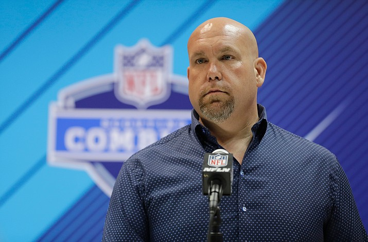 In this Feb. 28, 2018, file photo, Arizona Cardinals general manager Steve Keim speaks during a press conference at the NFL football scouting combine in Indianapolis. (Darron Cummings/AP, File)
