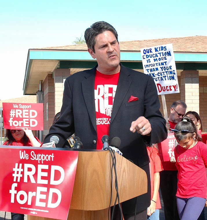 Arizona Education Association President Joe Thomas said Wednesday the strike will end when the governor and lawmakers agree to talk with leaders of education groups and provide meaningful dollars for classrooms.