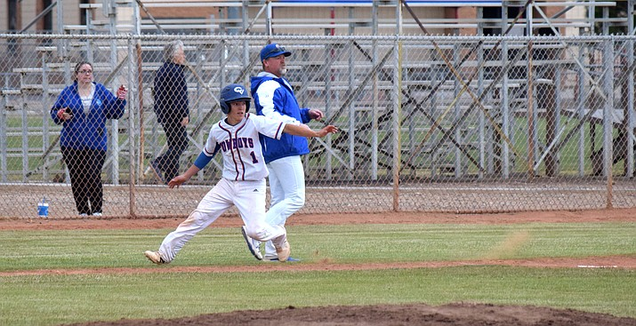Camp Verde junior Dominiq Bruno runs around third base during the Cowboys' win over Paradise Honors. The Cowboys tied with Paradise Honors and Northland Prep for first place in the 2A Central but lost out on the tiebreaker to NPA after losing to the Spartans on Tuessday. (VVN/James Kelley)