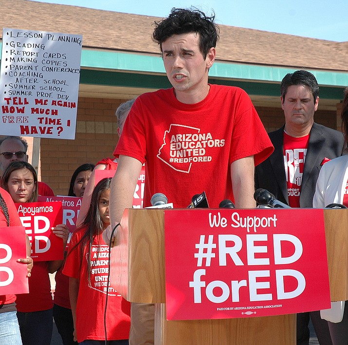 Noah Karvelis, one of the organizers of Arizona Educators United, said Wednesday parents need to understand that the walkout is about more than salary but also goes to inadequate funding for K-12 education. (Capitol Media Services photo by Howard Fischer)