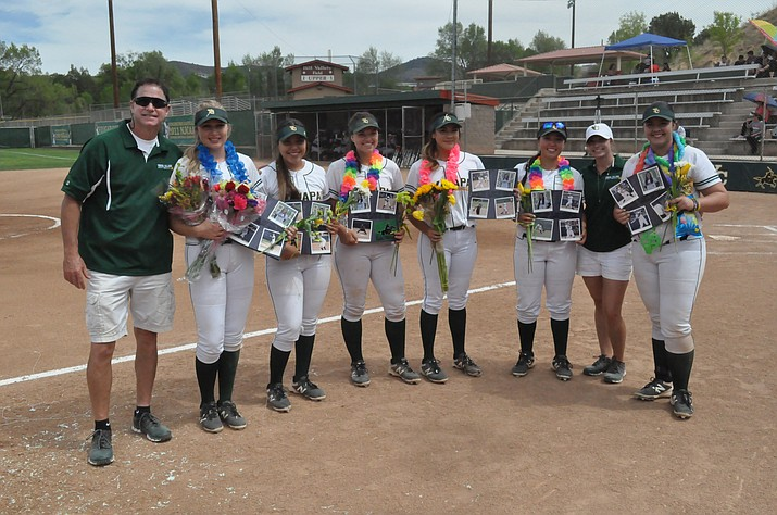 Yavapai College head coach Doug Eastman, left, stands with his sophomore class before the Roughriders swept a doubleheader with Glendale Community College on Thursday, April 26, 2018, in Prescott. (YC Athletics/Courtesy)