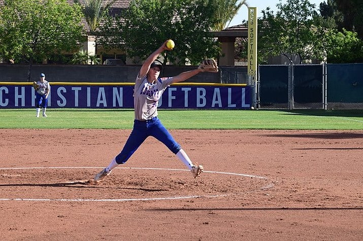 Chino Valley softball pitcher Keigan Willingham guided the Cougars to a 6-4 upset win over Safford in the first round of the AIA 3A state tournament Saturday afternoon at Rose Mofford Softball Complex in Phoenix. (Jenda Ballard/Courtesy)