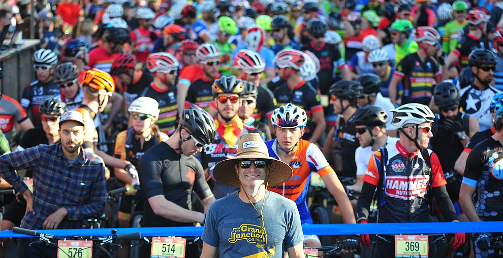 Epic Rides' Todd Sadow poses with the 50 mile racers before the Whiskey Off Road 30 and 50 mile amateur races in Prescott Saturday, April 28, 2018. (Les Stukenberg/Courier)