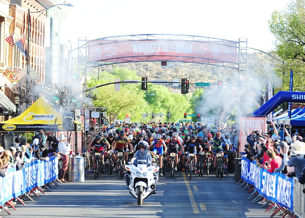 The 50-milers are on their way during the Whiskey Off Road 30 and 50 mile amateur races in Prescott Saturday, April 28, 2018. (Les Stukenberg/Courier)
