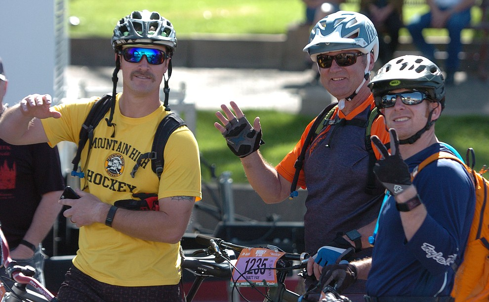 Brendan Johnson, Matt Fay and Tom Kaine before the Whiskey Off Road 30 and 50 mile amateur races in Prescott Saturday, April 28, 2018. (Les Stukenberg/Courier)