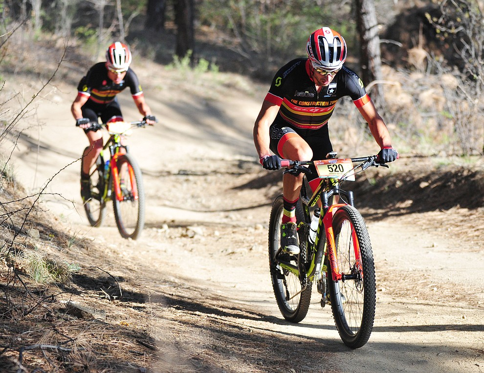 Jared Becker heads uphill during the Whiskey Off Road 30 and 50 mile amateur races in Prescott Saturday, April 28, 2018. (Les Stukenberg/Courier)