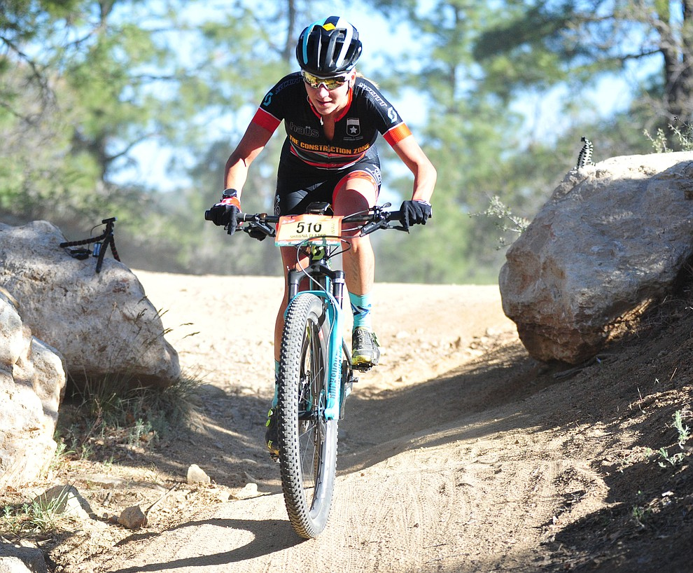 Shawna Glazier on course during the Whiskey Off Road 30 and 50 mile amateur races in Prescott Saturday, April 28, 2018. (Les Stukenberg/Courier)