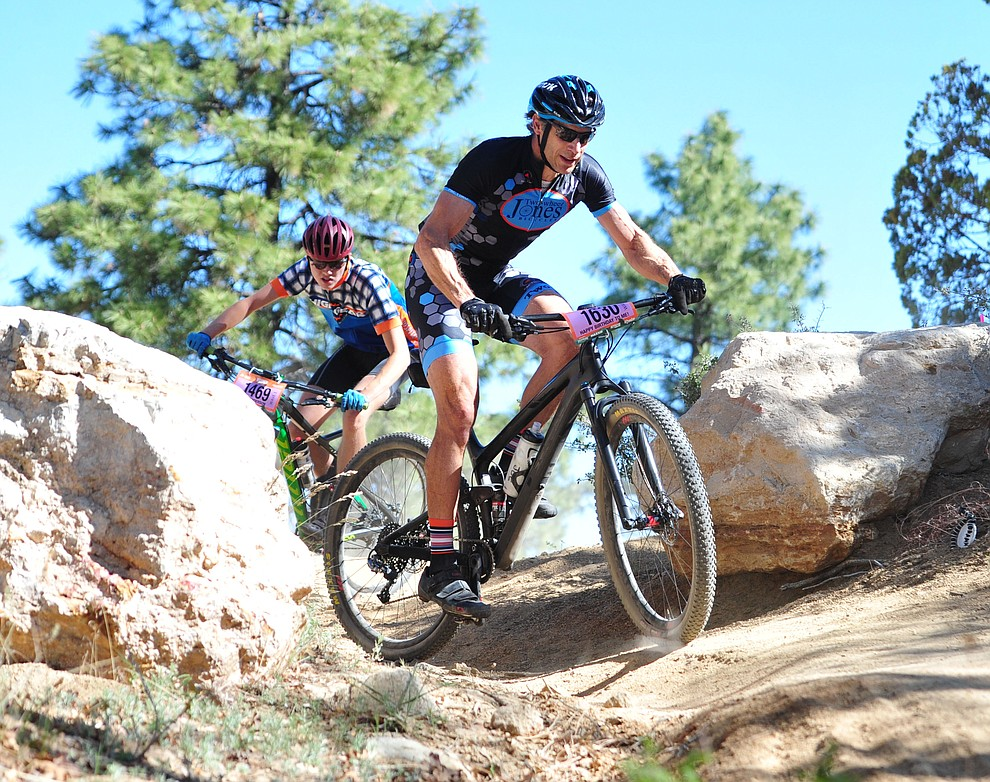 Joe Susco on course with Kevin Anderson right bhind him during the Whiskey Off Road 30 and 50 mile amateur races in Prescott Saturday, April 28, 2018. (Les Stukenberg/Courier)