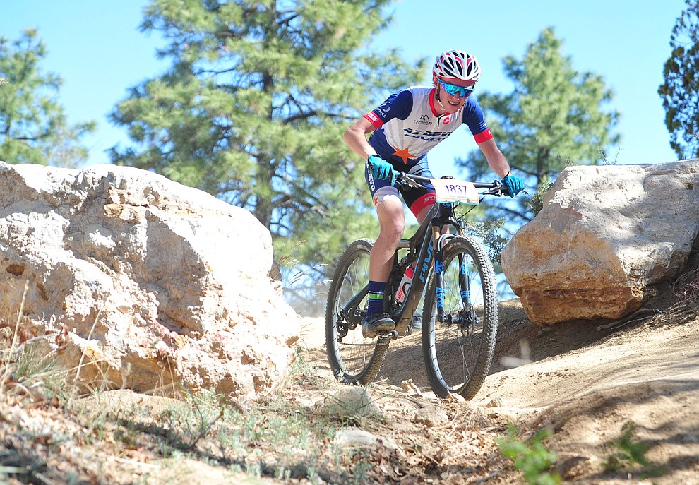 Theo Fabian on course during the Whiskey Off Road 30 and 50 mile amateur races in Prescott Saturday, April 28, 2018. (Les Stukenberg/Courier)