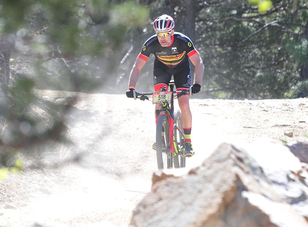 Matt Muller on course during the Whiskey Off Road 30 and 50 mile amateur races in Prescott Saturday, April 28, 2018. (Les Stukenberg/Courier)