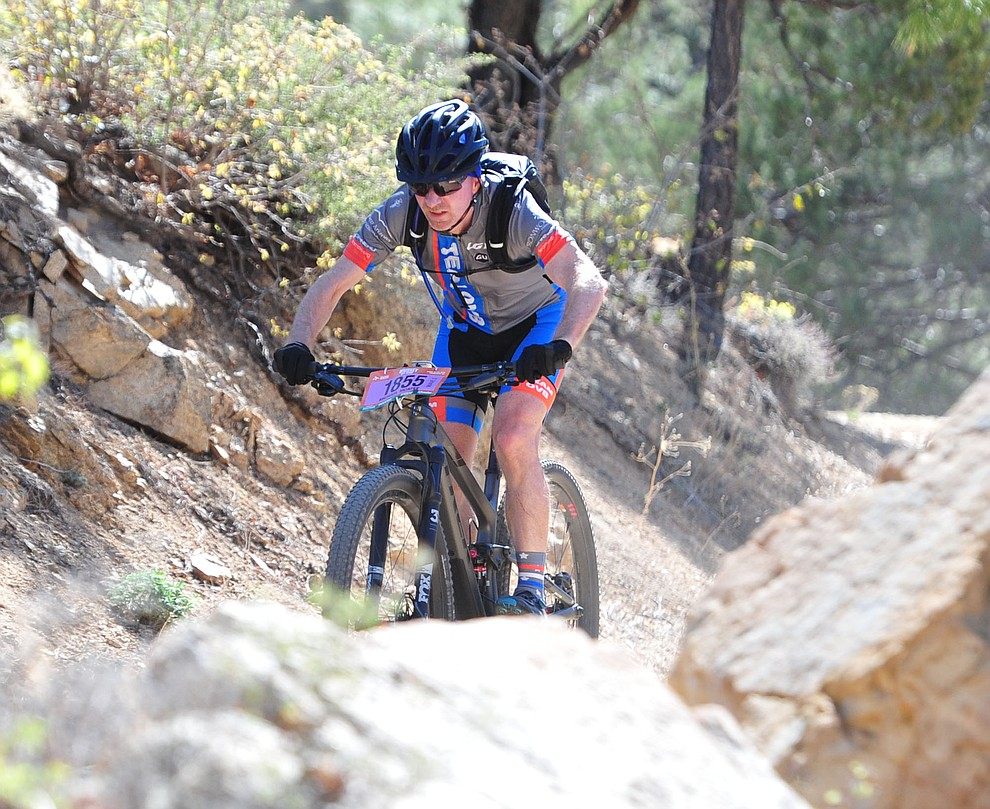 Michael Mcafee on course during the Whiskey Off Road 30 and 50 mile amateur races in Prescott Saturday, April 28, 2018. (Les Stukenberg/Courier)