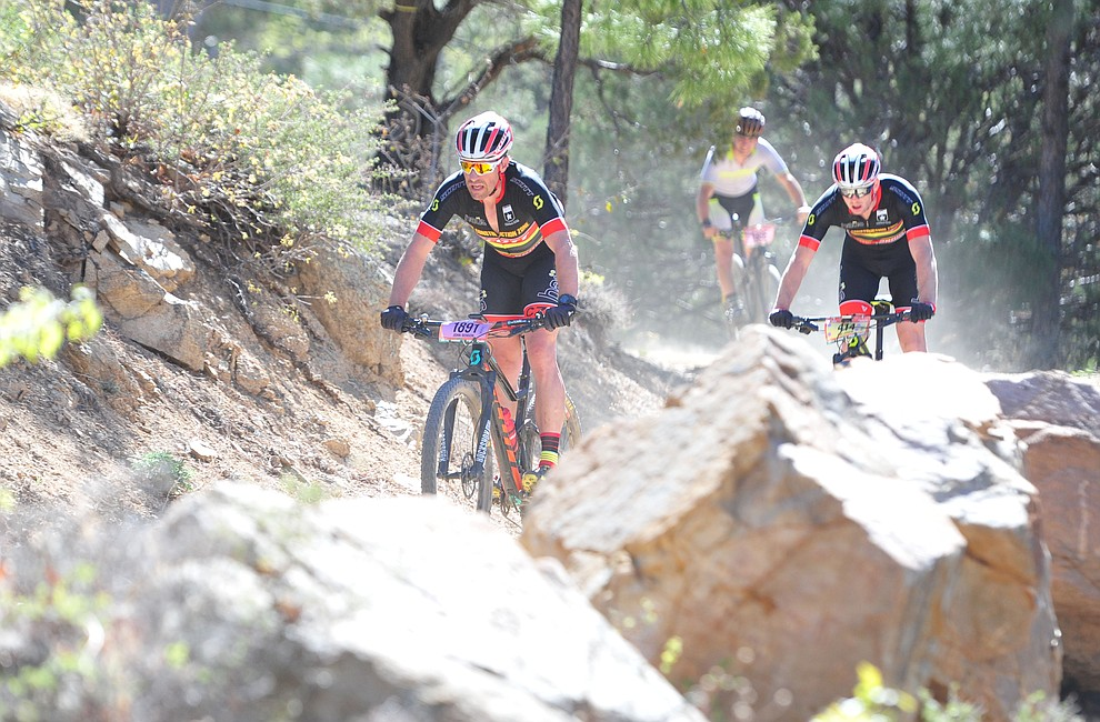 John Benson on course during the Whiskey Off Road 30 and 50 mile amateur races in Prescott Saturday, April 28, 2018. (Les Stukenberg/Courier)
