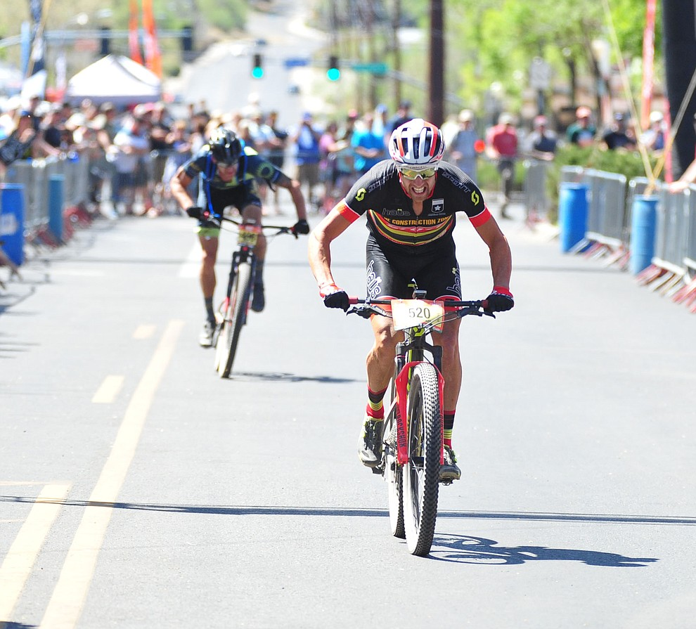 Jared Becker finishes strong for third place in the Whiskey Off Road 50 mile amateur race in Prescott Saturday, April 28, 2018. (Les Stukenberg/Courier)