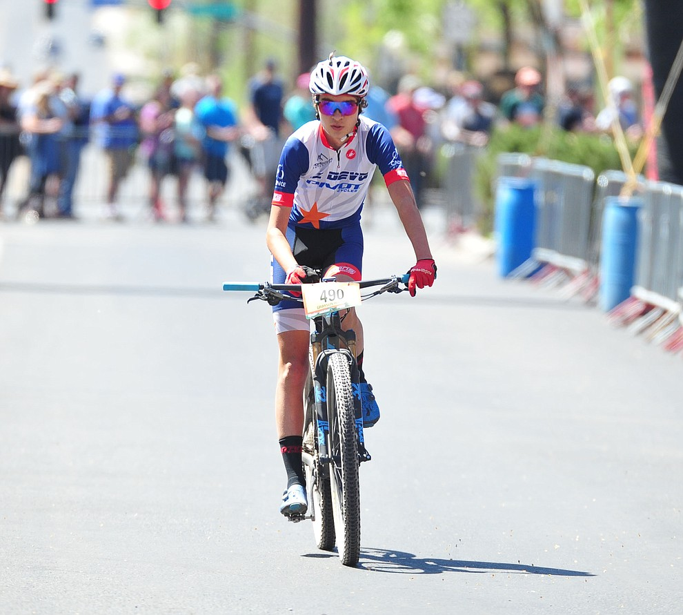 Grayson Hughes finishes 6th overall and won the junior category during the Whiskey Off Road 50 mile amateur race in Prescott Saturday, April 28, 2018. (Les Stukenberg/Courier)