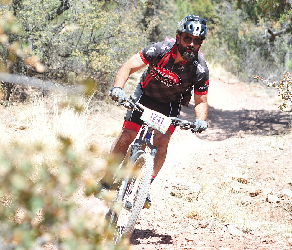 Shawn Vaca on course during the Whiskey Off Road 30 and 50 mile amateur races in Prescott Saturday, April 28, 2018. (Les Stukenberg/Courier)
