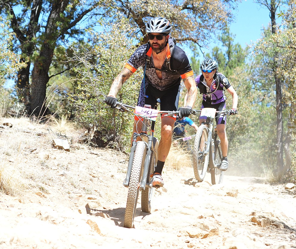 Alender Woodford on course during the Whiskey Off Road 30 and 50 mile amateur races in Prescott Saturday, April 28, 2018. (Les Stukenberg/Courier)