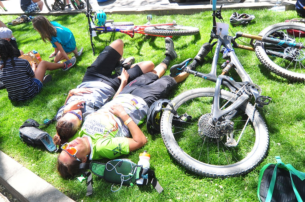 Whats better than a patch of grass following the Whiskey Off Road 30 and 50 mile amateur races in Prescott Saturday, April 28, 2018. (Les Stukenberg/Courier)