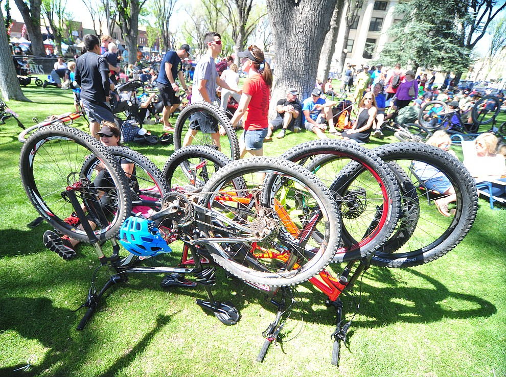 The tires get a break following the Whiskey Off Road 30 and 50 mile amateur races in Prescott Saturday, April 28, 2018. (Les Stukenberg/Courier)