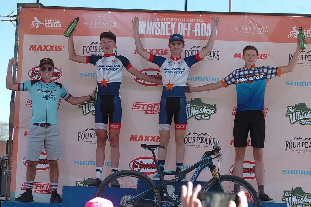 Whiskey Off Road 30 and 50 mile amateur race podium shot in Prescott Saturday, April 28, 2018. (Les Stukenberg/Courier)