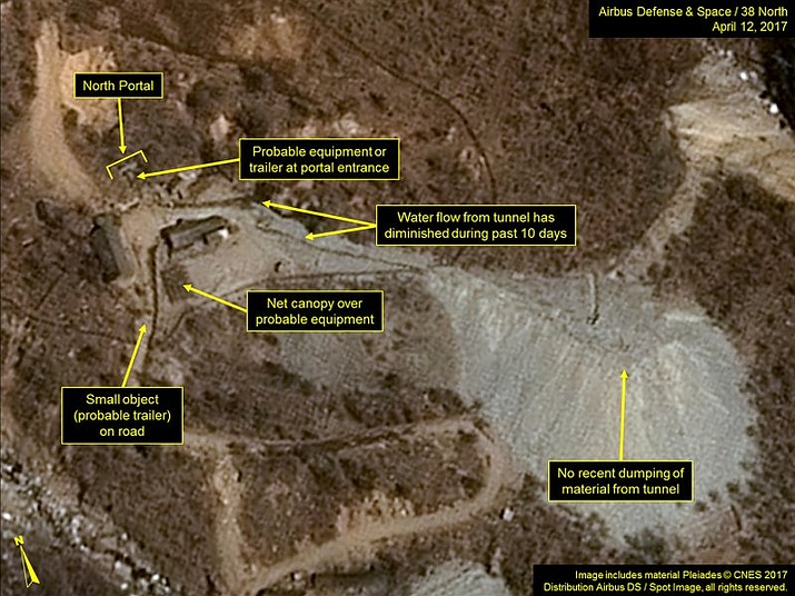 This satellite image released and notated by Airbus Defense & Space and 38 North on April 12, 2017, shows the Punggye-ri nuclear test site in North Korea. North Korean leader Kim Jong Un vowed to shut down his country's nuclear test site in May 2018 and disclose the process to experts and journalists from South Korea and the United States, Seoul's presidential office said Sunday, April 29, 2018. (Airbus Defense & Space/38 North/Pleiades CNES/Spot Image via AP)