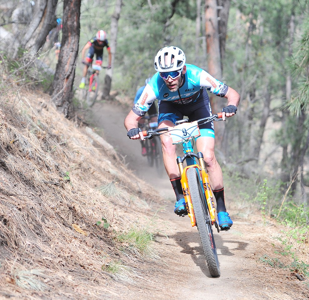 Geoff Kabush on trail 48 during the Whiskey Off Road  50 mile professional race in Prescott Sunday, April 29, 2018. (Les Stukenberg/Courier)