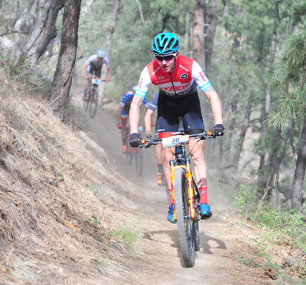 Keegan Swenson on trail 48 during the Whiskey Off Road  50 mile professional race in Prescott Sunday, April 29, 2018. (Les Stukenberg/Courier)
