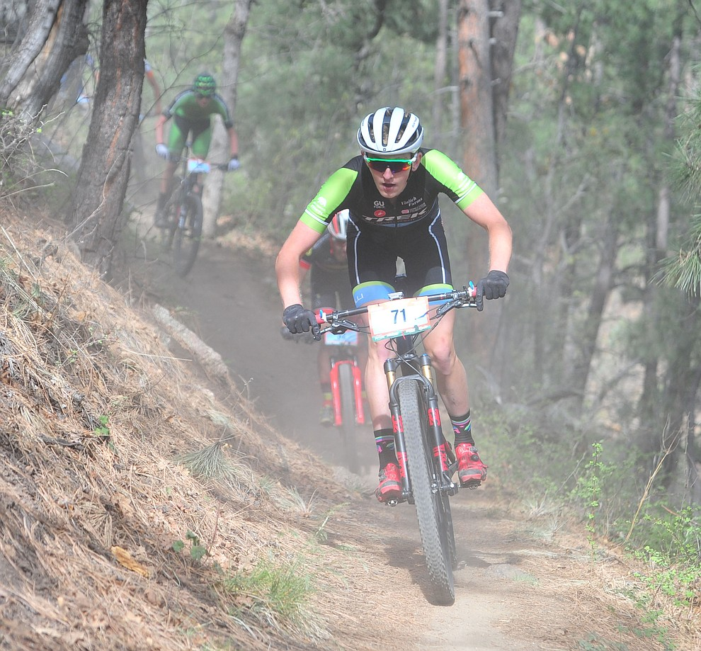 Paul Fabian on trail 48 during the Whiskey Off Road  50 mile professional race in Prescott Sunday, April 29, 2018. (Les Stukenberg/Courier)