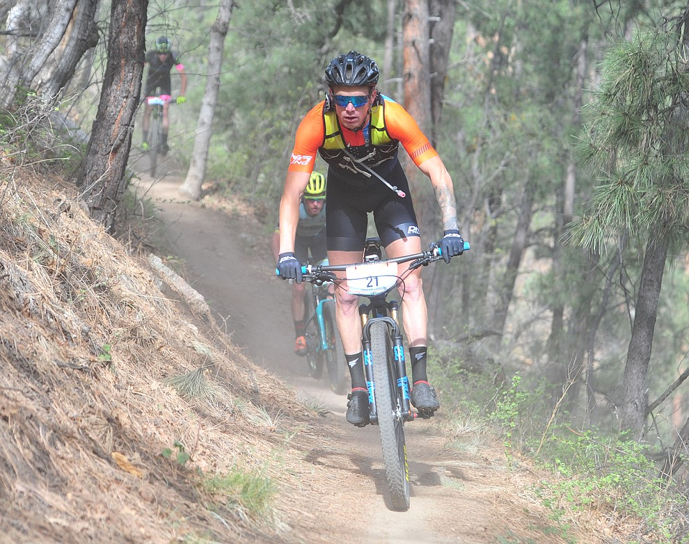 Taylor Lideen on trail 48 during the Whiskey Off Road  50 mile professional race in Prescott Sunday, April 29, 2018. (Les Stukenberg/Courier)