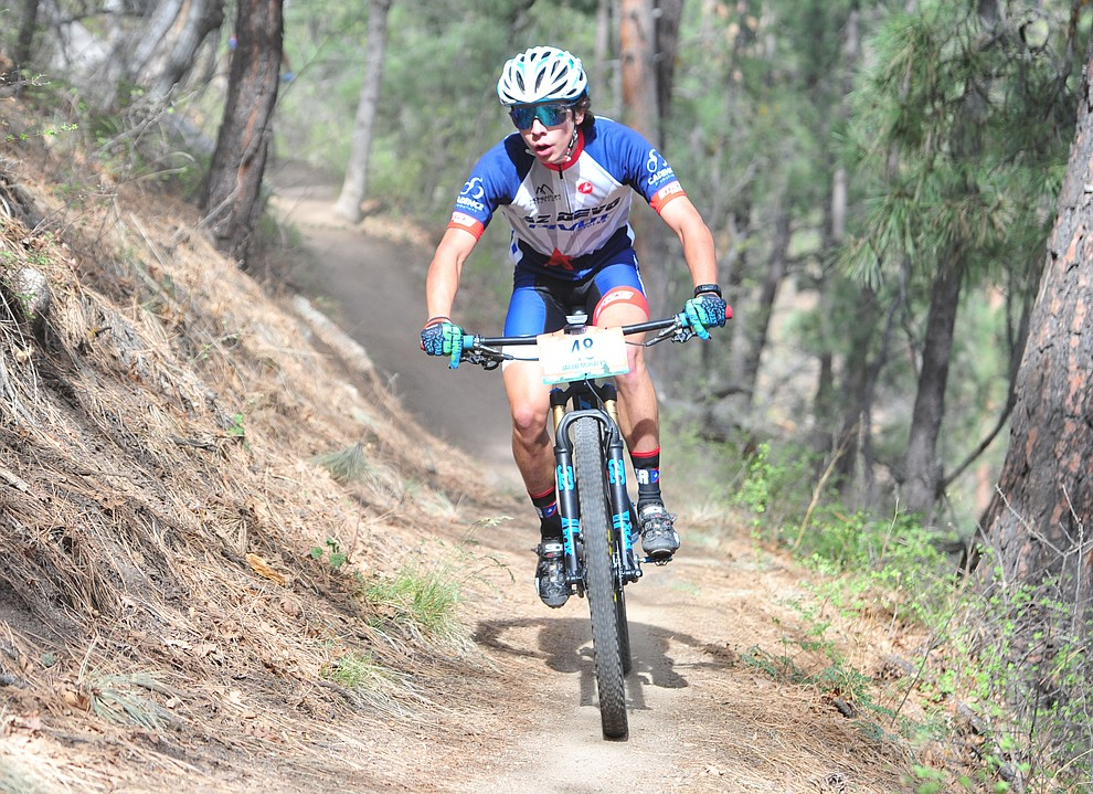 Jacob Morales on trail 48 during the Whiskey Off Road  50 mile professional race in Prescott Sunday, April 29, 2018. (Les Stukenberg/Courier)