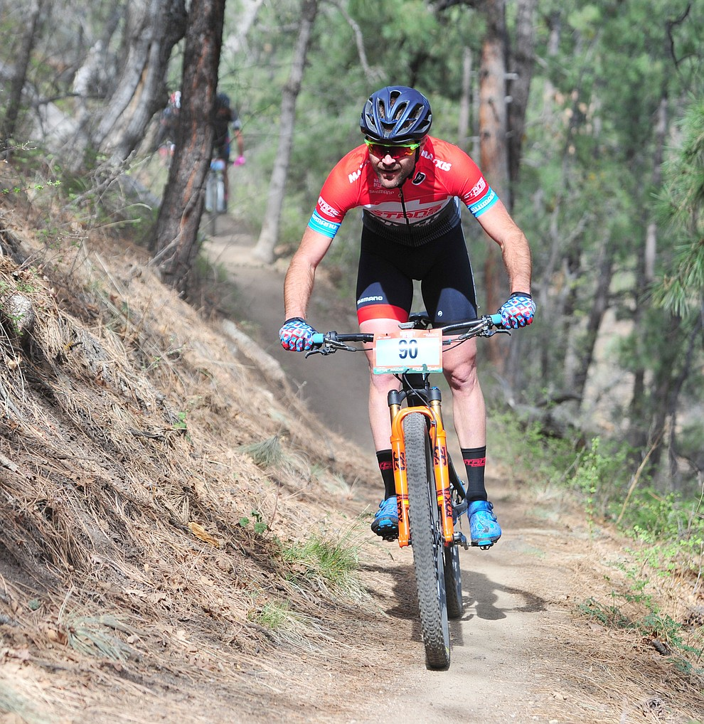 Travis Woodruff on trail 48 during the Whiskey Off Road  50 mile professional race in Prescott Sunday, April 29, 2018. (Les Stukenberg/Courier)