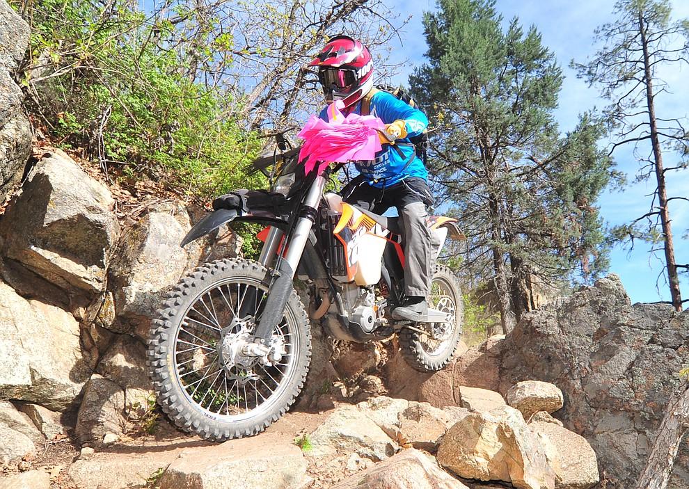 John Shumacher rides the lead moto for the women's race during the Whiskey Off Road  50 mile professional race in Prescott Sunday, April 29, 2018. (Les Stukenberg/Courier)