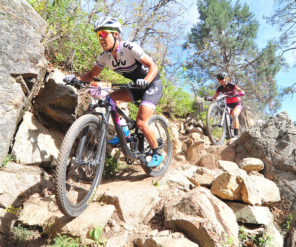 Crystal Anthony goes through a technical section on trail 48 during the Whiskey Off Road  50 mile professional race in Prescott Sunday, April 29, 2018. (Les Stukenberg/Courier)