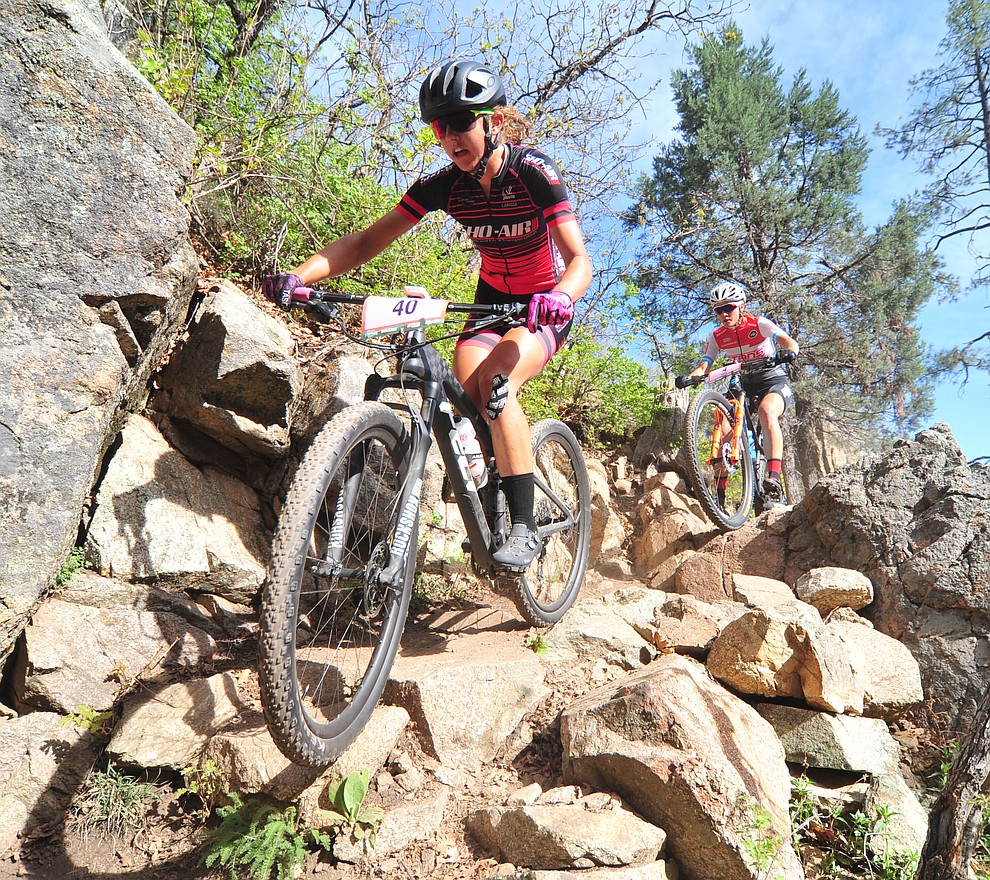 Larissa Connors goes through a technical section on trail 48 during the Whiskey Off Road  50 mile professional race in Prescott Sunday, April 29, 2018. (Les Stukenberg/Courier)